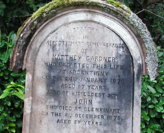 The gravestone at Kilmun of a former Ardentinny postmaster Matthew Gardener.