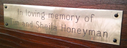 Tim &amp; Sheila Honeyman plaque on bench at Lairds Grave