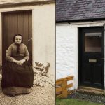 Euphemia McKellar at Glencairn Cottage c1896 and the cottage doorway today