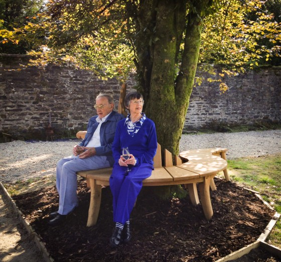Stan and Irene on the bespoke oak seat.