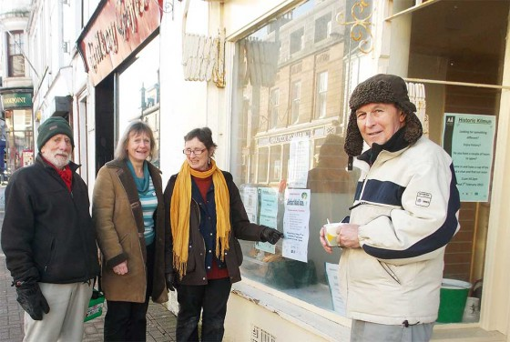 Dennis Gower and Lynn Kerr of Ardentinny Community Trust with Moira Clinch and Iain MacNaughton of Historic Kilmun outside the Dunoon shop.