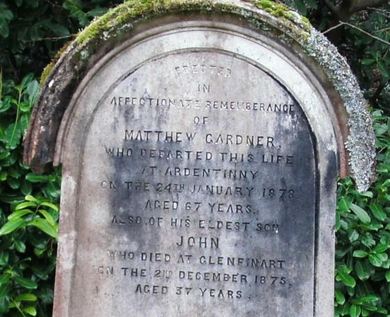 The gravestone at Kilmun of a former Ardentinny postmaster Matthew Gardener.