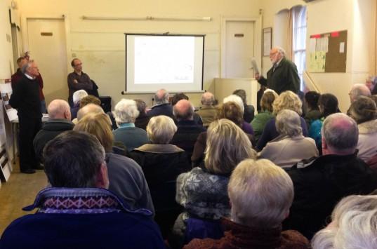Ardentinny Community Councillor Malcolm Bartley raises a point with Murdo MacDonald.