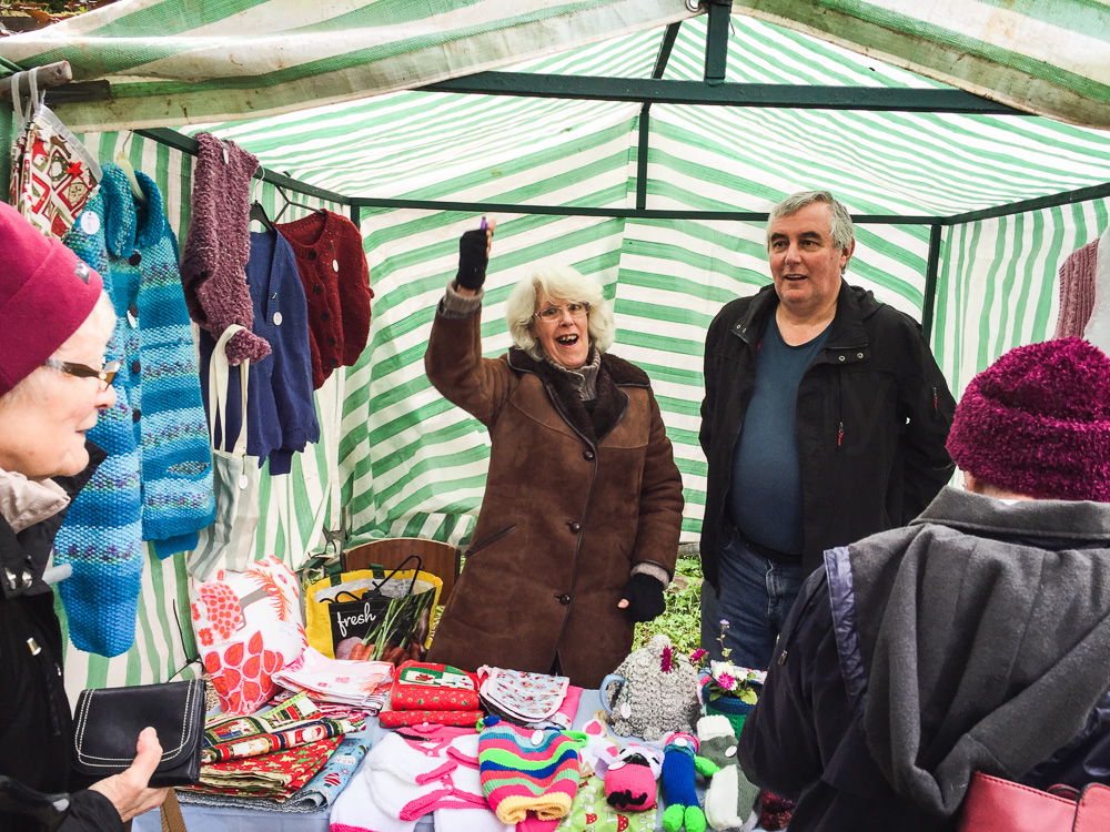 Babs & Pete on the wooly wares stall