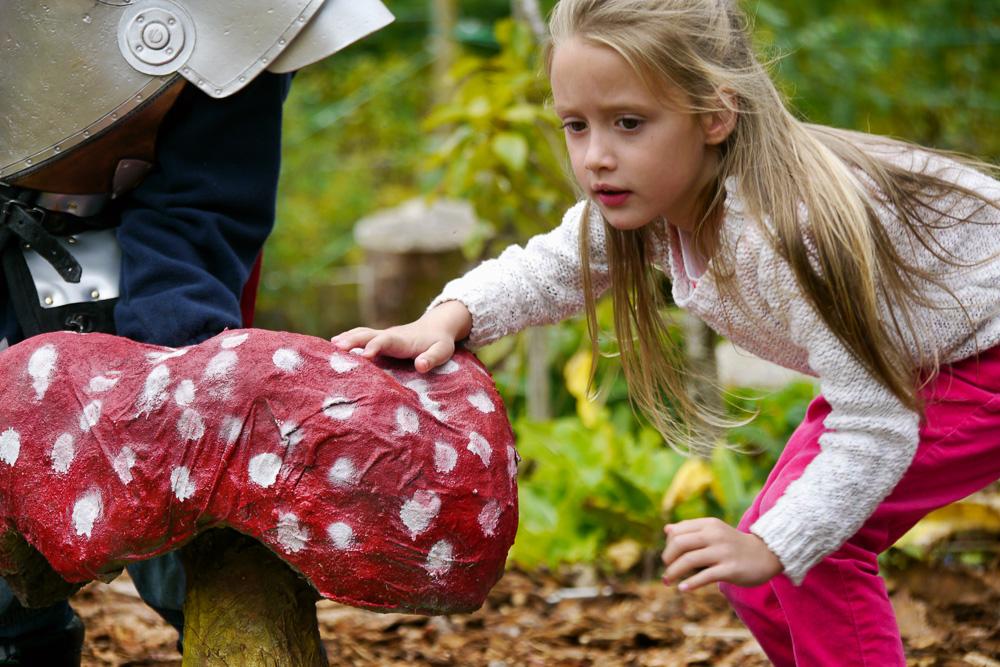 Giant toadstools in the kids' garden