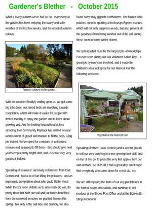 Gardener's Blether - October 2015